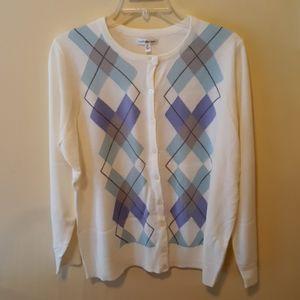 Croft & Barrow Womens Argyle Cardigan Sweater
